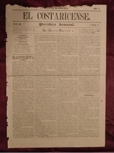 Periodico El Costaricense Año 1873