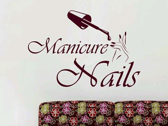 Adesivo Decorativo De Parede Salão Beleza Manicure Nails