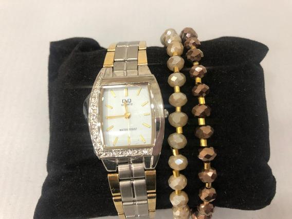 Relógio Analógico Q&q Q693j401y Feminino Prateado E Dourado