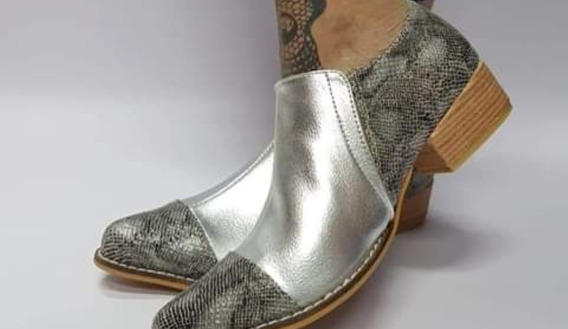 Zapato Cuero Plateado Print Gris 36 Nuevo Último Par