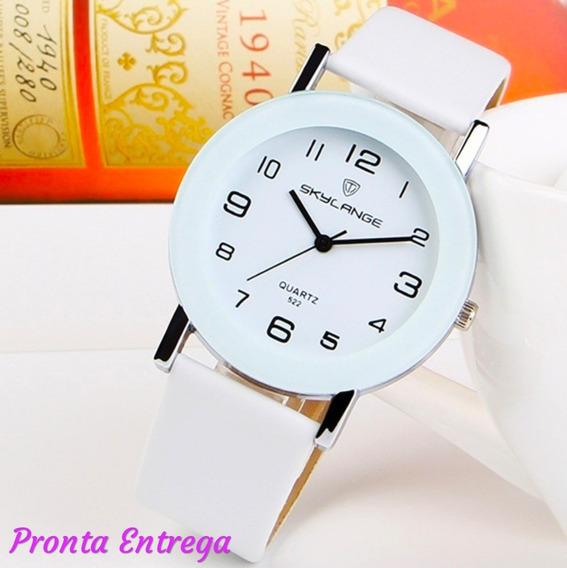 Relógio Feminino Luxo Couro Fake Mulher Elegante Branco
