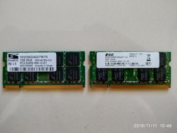 Memória Ddr2 Dell Inspiron 1525 3gb(2 Gb + 1) Usada