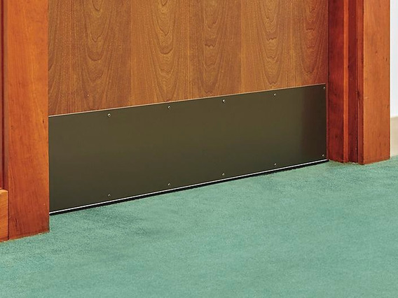 1 Placa De Aluminio Color Bronce De 8x34 Proteccion Puertas