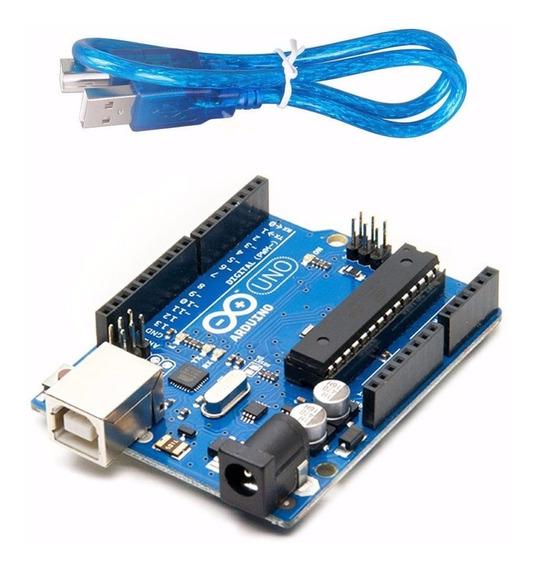 Arduino Uno Rev3 R3 Atmega328 Dip Com Cabo Automação Usb