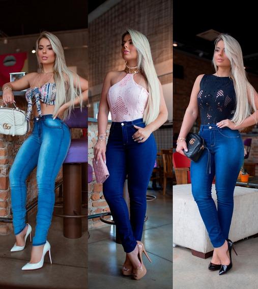 Kit 03 Calças Jeans Cintura Alta Levanta Bumbum Plus Size 36 Ao 54 Luxo