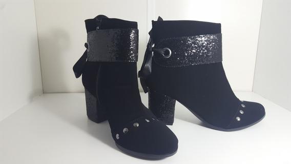 Botas Femininas Preta Brilho Cano Curto Salto Grosso Salto Medio Sapatos Femininos Baratos Promoção Casual Chique