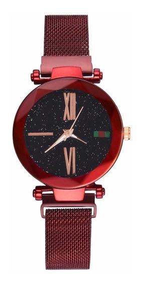 Relógio Luxo Céu Estrelado Ímã Fivela ( Roxo)