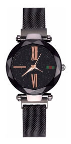 Relógio Luxo Céu Estrelado Fecho De Imã Romanos Caixa Brinde