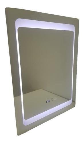 Espejo Baño Luz Led Bluetooth Antiempañante Reloj 60 X 80