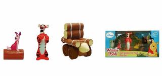 Winnie The Pooh Play Set X3 Con Coche De Maderos Goma