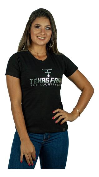 Camiseta Feminina Texas Farm Original Preto - Cf063 + Brinde