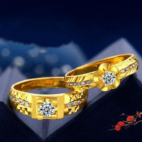 Anel Luxo Big Cristal Anel De Ouro Para Homens Mulheres
