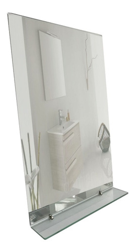 Espejo Baño Sin Marco 70x70 3mm + Estante De 5mm + Soportes