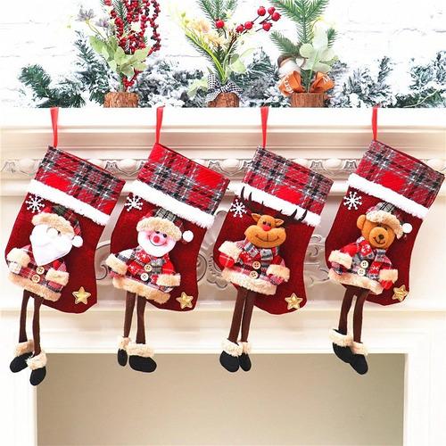 4 Botas Adorno Colgante Arbol Navidad Santa Reno Piernas Lar