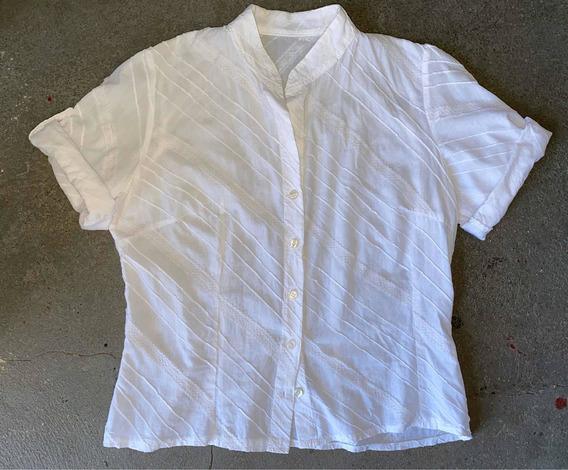 Camisa Blanca Con Puntilla Cuello Mao T. M