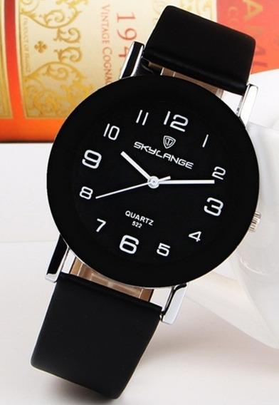 Relógio De Pulso Analogico Luxo Moderno Versátil Semi-couro