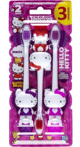 Imagem 1 de 1 de Escova Dental Hello Kitty Com Ventosa Jade Pt 3 Un