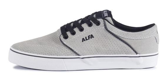 Tênis Alfa Skate Switch Cinza Alvejado E Branco Promoção