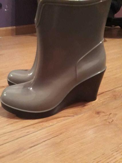 Botas De Lluvia Color Gris Oscuro Talle 37 Italian Style