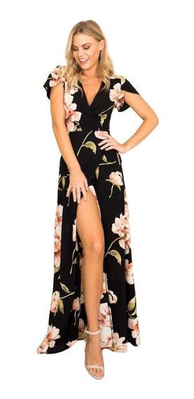 Vestido Largo De Fiesta Negro Con Flores Vestido Elegante