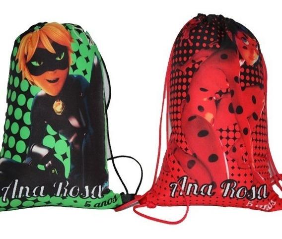 30 Bolsa / Mochila Saco Personalizada Ladybug 30cmx20cm