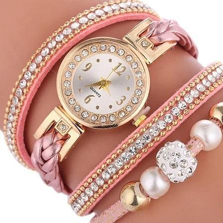 Relógio Feminino Bracelete Strass Pulseira Couro Rosa Retro