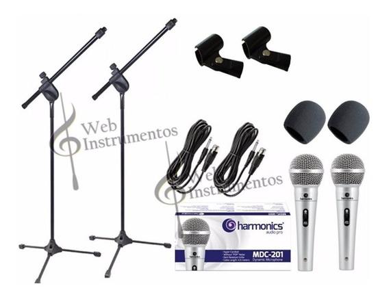 Kit 2 Microfones Mdc201+ 2 Espumas+ 2 Pedestais+ 2 Cachimbos