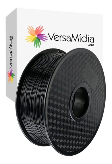 Filamento Pla 1,75mm 1kg Preto Versamídia 3d ( Black Spool)