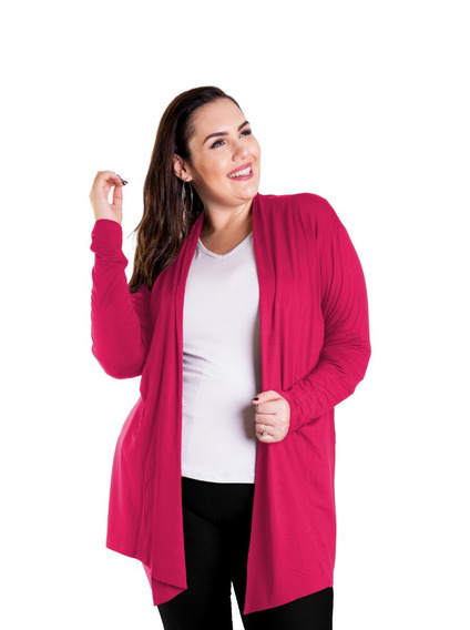 Roupa Feminina Maxi Casaco Cardigan Comprido Plus Size +56