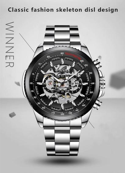 Relógio Winner Mecanico Automatico Esqueleto Engrenagem