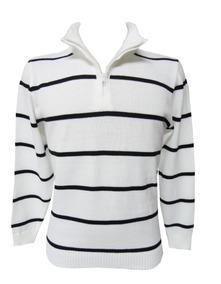 Suéter Blusa Trico Masculina Zíper Lista Branca Preta Outlet