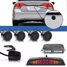 Câmera De Ré + Sensor De Estacionamento 4 Pontos Display Led