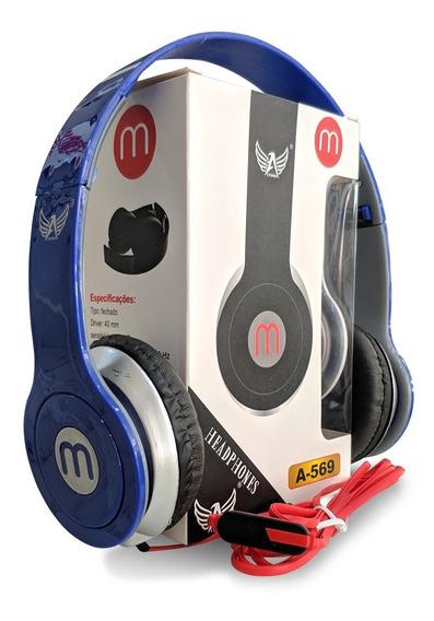Fone Retrátil Modelo Beats Com Fio Emborrachado E Microfone
