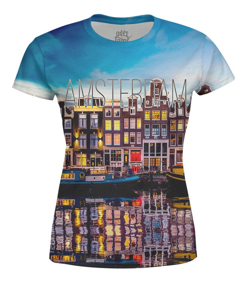 Camiseta Baby Look Feminina Amsterdam Estampa Digital
