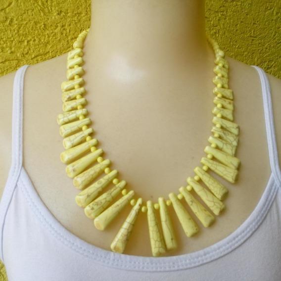 Maxi Colar De Pedra Houlita Amarelo Ref: Ref: 7086