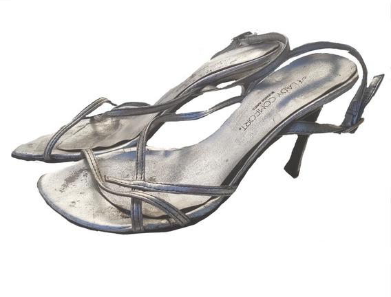 Hot Sale Sandals Fiesta-danza Lady Comfort T36 Plateadas 9cm