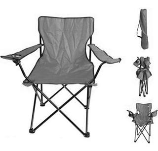 Cadeira Dobravel Com Braço Porta Copo Bolsa Transporte Preta