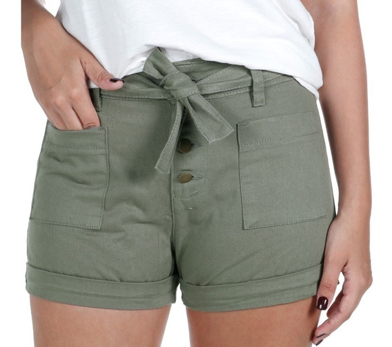 Shorts Feminino Salta Sarja Verde Treme Terra