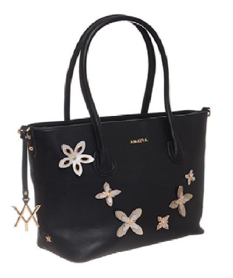 Cartera Tote Bag Negra Amayra Aplique Flores Amplia