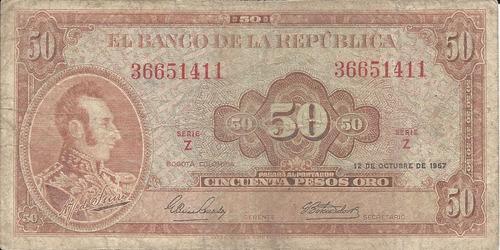 Imagen 1 de 2 de Colombia 50 Pesos 12 De Octubre 1967