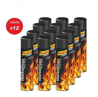 12x Tinta Spray Alta Temperatura Preto Fosco 400ml Mundial