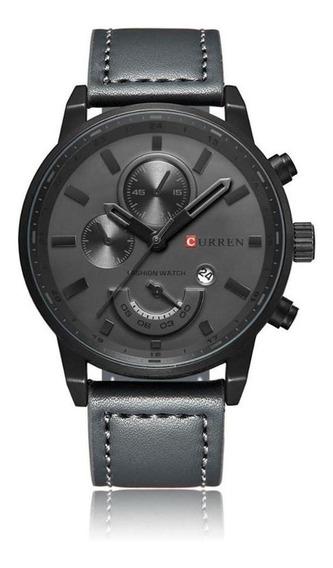 Relógio Curren 8217 Masculino Original Em Couro E Inox
