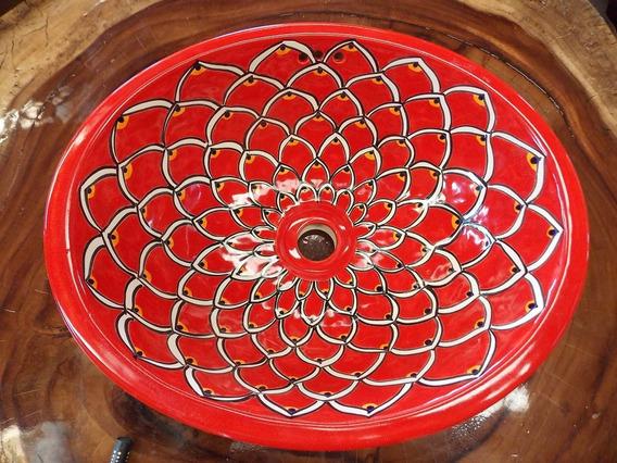 Lavabo Ovalin Artesanal Talavera Estilo Antiguo. Pavo Rojo