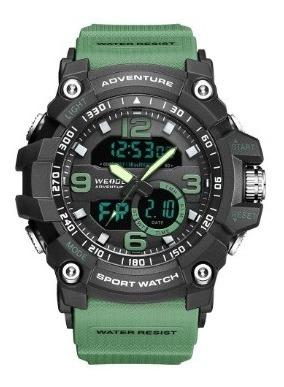Relógio Masculino Weide 8001 - Verde E Preto Na Caixa Com Nf