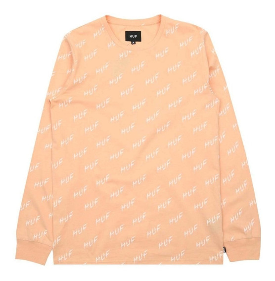 Playera Huf Bolt All Over Longsleeve Peach Original Rvca