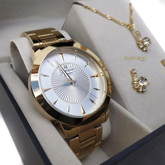 Relógio Champion Feminino Cn29258c + Colar E Brincos Lindos