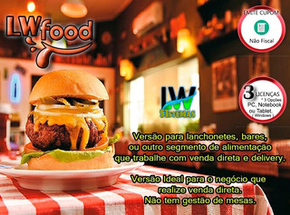 Sistema Lw Food Para Quiosque, Food Truck, Lanchonete, Nf