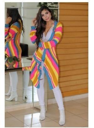 Maxi Cardigan Tricot Colorido Coleção Outono Inverno 2019