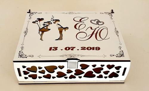 Caixa Convite De Casamento Branca Mdf - 12 Caixas