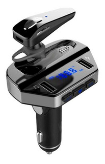 Transmisor Fm-receptor Incluye Audifonos Manos Libres Con 2 Puertos Usb
